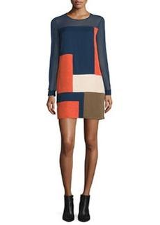 Diane von Furstenberg Raegan Long-Sleeve Silk Colorblock Mini Dress
