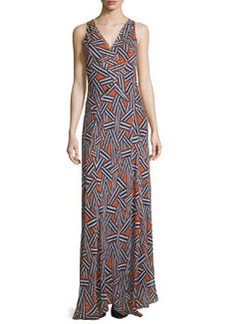 Diane von Furstenberg Dita Sleeveless Ribbon Rectangles Silk Gown