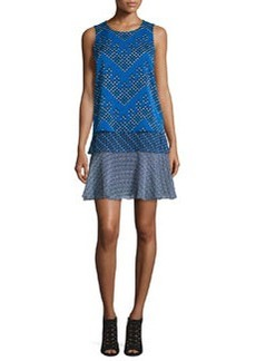 Diane von Furstenberg Liza Tiered Flounce Chevron Dots Dress