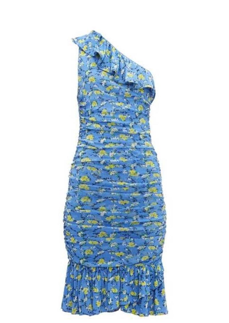 Diane Von Furstenberg Aerin ruched floral-print mesh dress