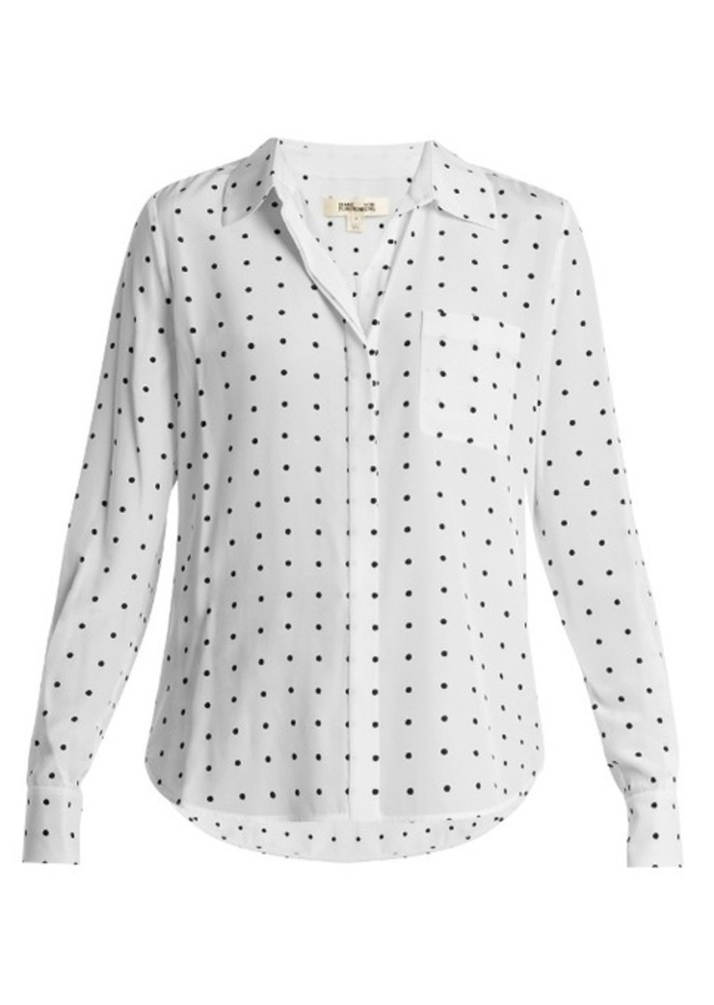 Diane Von Furstenberg Arbor dot-print point-collar silk shirt