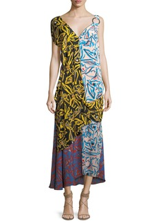 Diane von Furstenberg Asymmetric Draped Combo Silk Dress