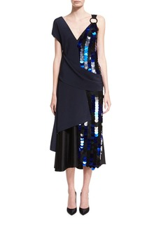 Diane von Furstenberg Asymmetric Draped Silk Midi Cocktail Dress w/ Paillettes