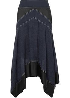 Diane Von Furstenberg Asymmetric paneled crepe, satin and voile skirt