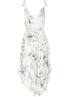 Asymmetric printed silk crepe de chine midi dress