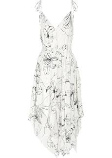 Diane Von Furstenberg Asymmetric printed silk crepe de chine midi dress