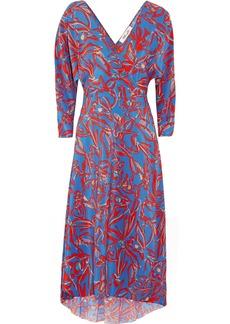 Diane von Furstenberg Asymmetric printed silk crepe de chine midi wrap dress