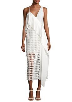 Diane von Furstenberg Asymmetric Ruffle Lace Midi Dress
