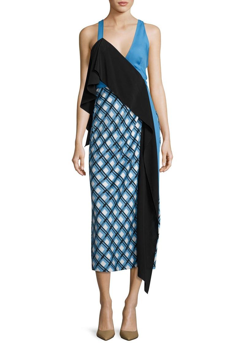 Diane von Furstenberg Asymmetric Ruffle Midi Dress