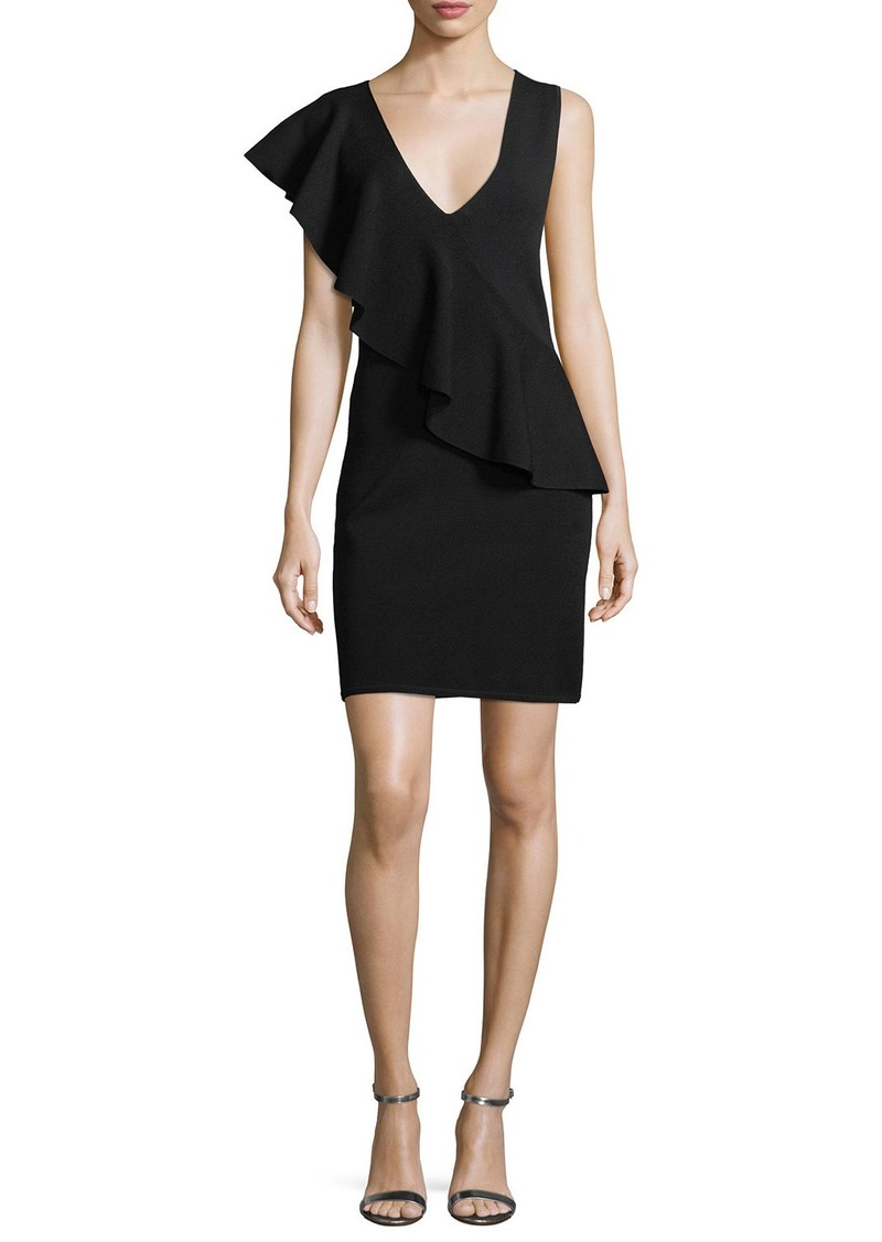 Diane Von Furstenberg Asymmetric Ruffle Sleeveless Crepe Dress