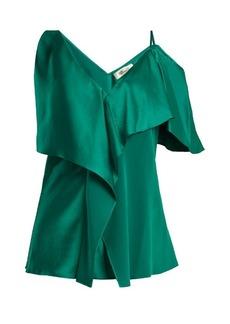 Diane Von Furstenberg Asymmetric ruffle-trimmed satin blouse
