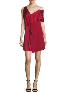 Diane von Furstenberg Asymmetric Sleeve Ruffled Front Mini Dress