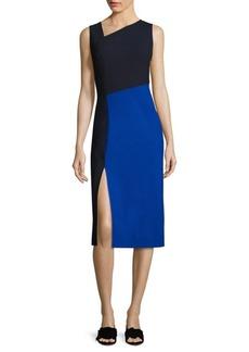 Diane von Furstenberg Asymmetrical Colorblock Midi Dress