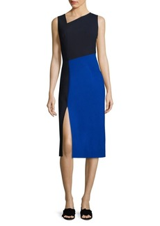 Asymmetrical Colorblock Midi Dress