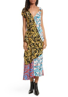 Diane von Furstenberg Asymmetrical Mixed Print Silk Maxi Dress