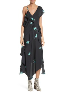 Diane von Furstenberg Asymmetrical Ruffle Midi Dress