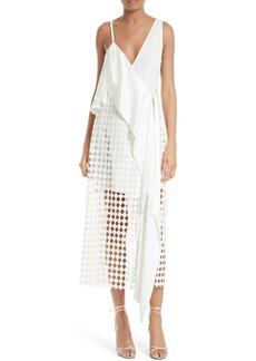 Diane von Furstenberg Asymmetrical Ruffle Mixed Media Wrap Dress