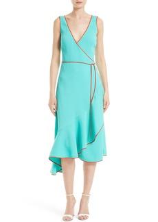 Diane von Furstenberg Asymmetrical Ruffle Wrap Midi Dress