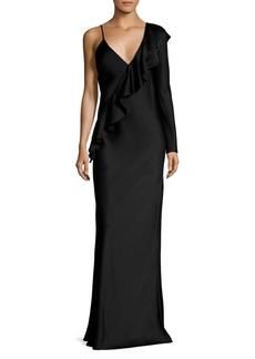 Diane Von Furstenberg Asymmetrical Sleeve Ruffled Gown