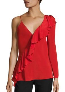Diane von Furstenberg Asymmetrical Sleeve Ruffled Silk Blouse