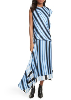 Diane von Furstenberg Asymmetrical Stripe Silk Maxi Dress