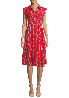 Diane von Furstenberg Avery Printed Silk Button-Front Shirtdress
