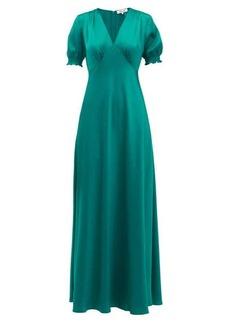Diane Von Furstenberg Avianna V-neckline satin maxi dress