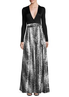 Diane von Furstenberg Aviva Metallic Wrap-Front Maxi Dress