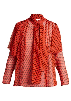 Diane Von Furstenberg Baker polka dot-print silk pussy-bow blouse