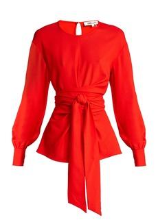 Diane Von Furstenberg Balloon-sleeve crepe wrap blouse