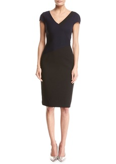 Diane von Furstenberg Banded Colorblocked Cap-Sleeve Dress