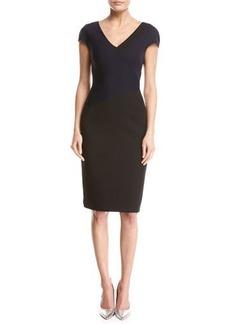 Diane von Furstenberg Banded Colorblocked Cap-Sleeve Dress