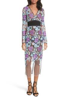 Diane von Furstenberg Banded Lace Overlay Dress