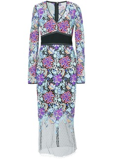 Diane Von Furstenberg banded overlay lace dress - Multicolour