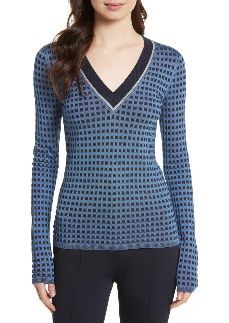e00b3996acad94 SALE! Diane Von Furstenberg Diane von Furstenberg Banded V-Neck Sweater