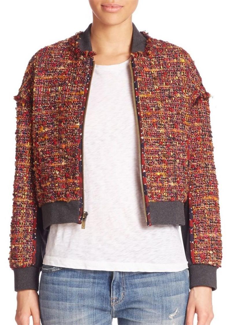 Diane von Furstenberg Bayler Tweed Bomber Jacket