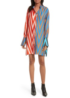 Diane von Furstenberg Bell Sleeve Silk Shirtdress
