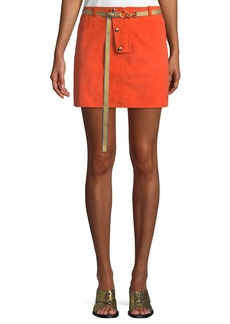 Diane von Furstenberg Belted Button-Front Suede Mini Skirt