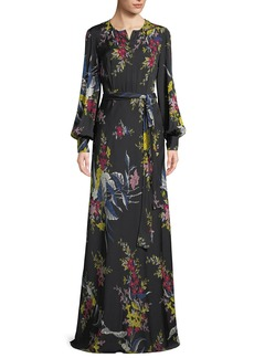 Diane von Furstenberg Belted Long-Sleeve Floral-Print Silk Maxi Dress