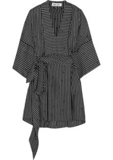 Belted striped silk-twill blouse
