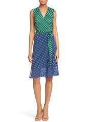 Diane von Furstenberg 'Bethanie' Colorblock Dot Print Silk Wrap Dress
