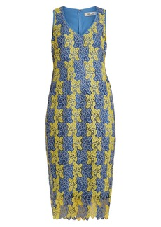 Diane Von Furstenberg Bi-colour lace midi dress