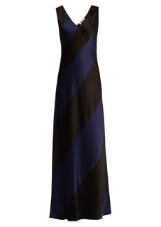 Diane Von Furstenberg Bi-colour V-neck panelled-satin gown