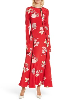 Diane von Furstenberg Bias Cut Floral Silk Maxi Dress