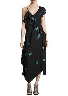 Diane von Furstenberg Bird-Print Asymmetric Silk Jersey Ruffle Dress
