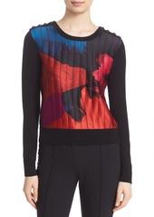Diane von Furstenberg 'Blaike' Button Shoulder Print Front Crewneck Sweater