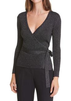 Diane von Furstenberg Bonnie Metallic Wool Blend Wrap Sweater