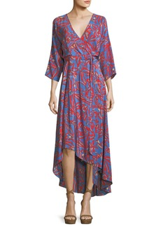 Diane von Furstenberg Bracelet-Sleeve Asymmetric-Hem Printed Silk Wrap Dress