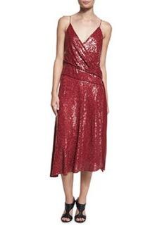 Diane von Furstenberg Brenndah Sequin Surplice-Front Dress