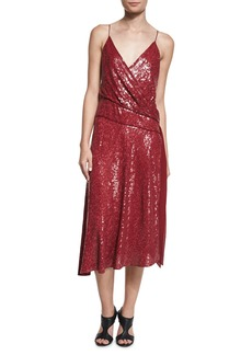 Diane von Furstenberg Brenndah Sequin Surplice-Front Dress